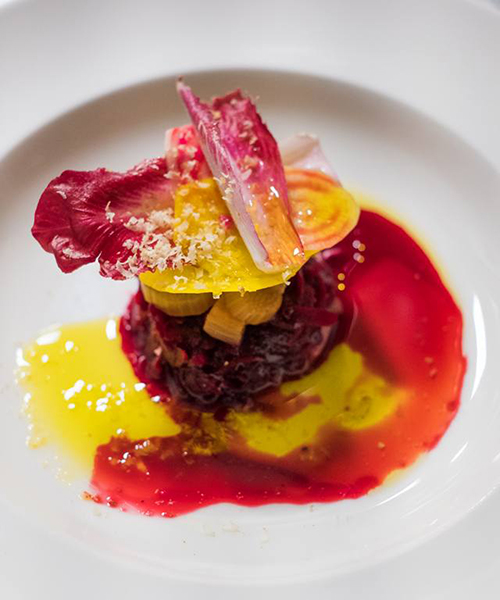 Raw Beetroot with Rhubarb, Wattleseed and Horseradish