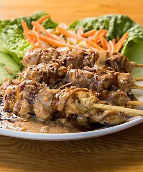 Satay Ayam Chicken traditionally seasoned, skewered and grilled